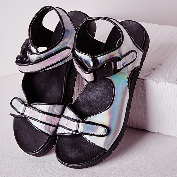 8a88c64537c Missguided Holographic Velcro Gladiator Sandals. M 5c1334c112cd4a289cb958e5